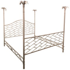 Vintage Chinese Chippendale Palm Tree Leaf Metal Four Poster King Size Bed