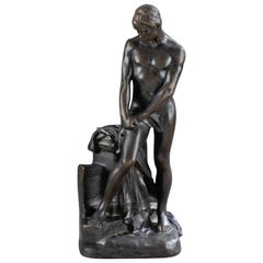 Bronze of a Draped Male Nude Athlete by Raoul Francois Larche