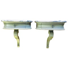 19th Century French Set of Two Small Marble-Top Hand-Carved Consoles