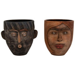 Pair of Art Head Face Terracotta Planters, 1960s