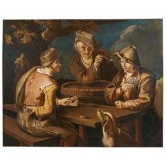 Scena di Genere, Todeschini 17th Century Oil on Canvas Genre Scene Painting