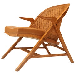 Edward Wormley for Dunbar Cane A-Frame Lounge Chair