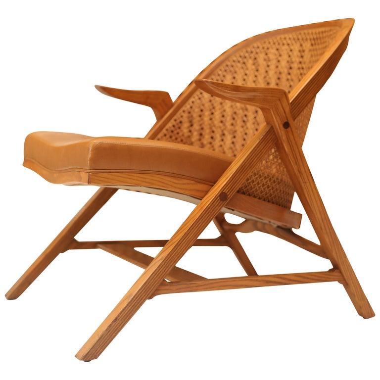 Edward Wormley for Dunbar Cane A-Frame Lounge Chair