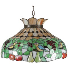 Antique Arts & Crafts Mosaic Slag Glass Dome Chandelier, Grapes and Birds