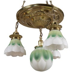 Figural Neoclassical Brass Ceiling Light Fixture with Floral Form Shades