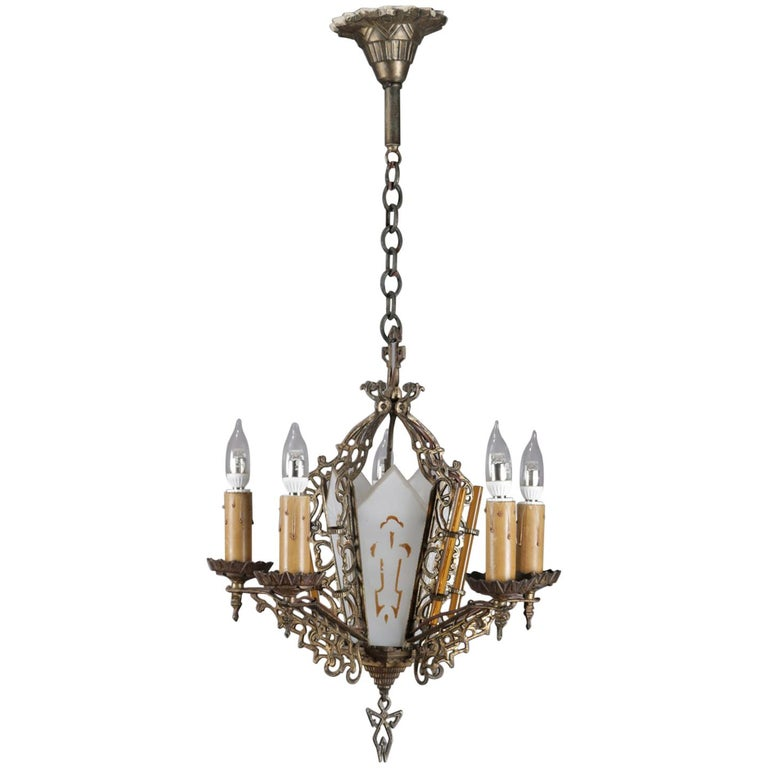 Antique Gothic Pierced Bronze and Gilt Glass 5-Candle Light Chandelier For  Sale - Antique Gothic Pierced Bronze And Gilt Glass 5-Candle Light
