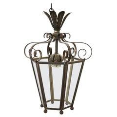 20th Century Italian Brass Lantern One Light