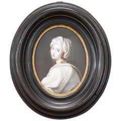 19th Century Portrait of a Young Girl in Miniature Painted on Ivory