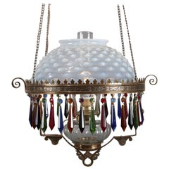 Victorian Opalescent Hobnail Glass and Bronze Electrified Gas Hanging Light