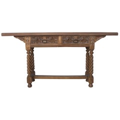 18th Century Spanish Catalan Carved Console Table with Two Drawers