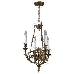 Antique Italian Baroque Gilt Bronze 6-Candle Light Foliate Form Chandelier