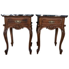 19th Century Pair of French Louis XV Carved Nightstands