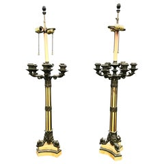 19th Century Large Pair of French Empire Bronze Siena Marble Candelabra Lamps
