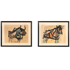 Set of Mid-Century Modern Bull Paintings by Prisco