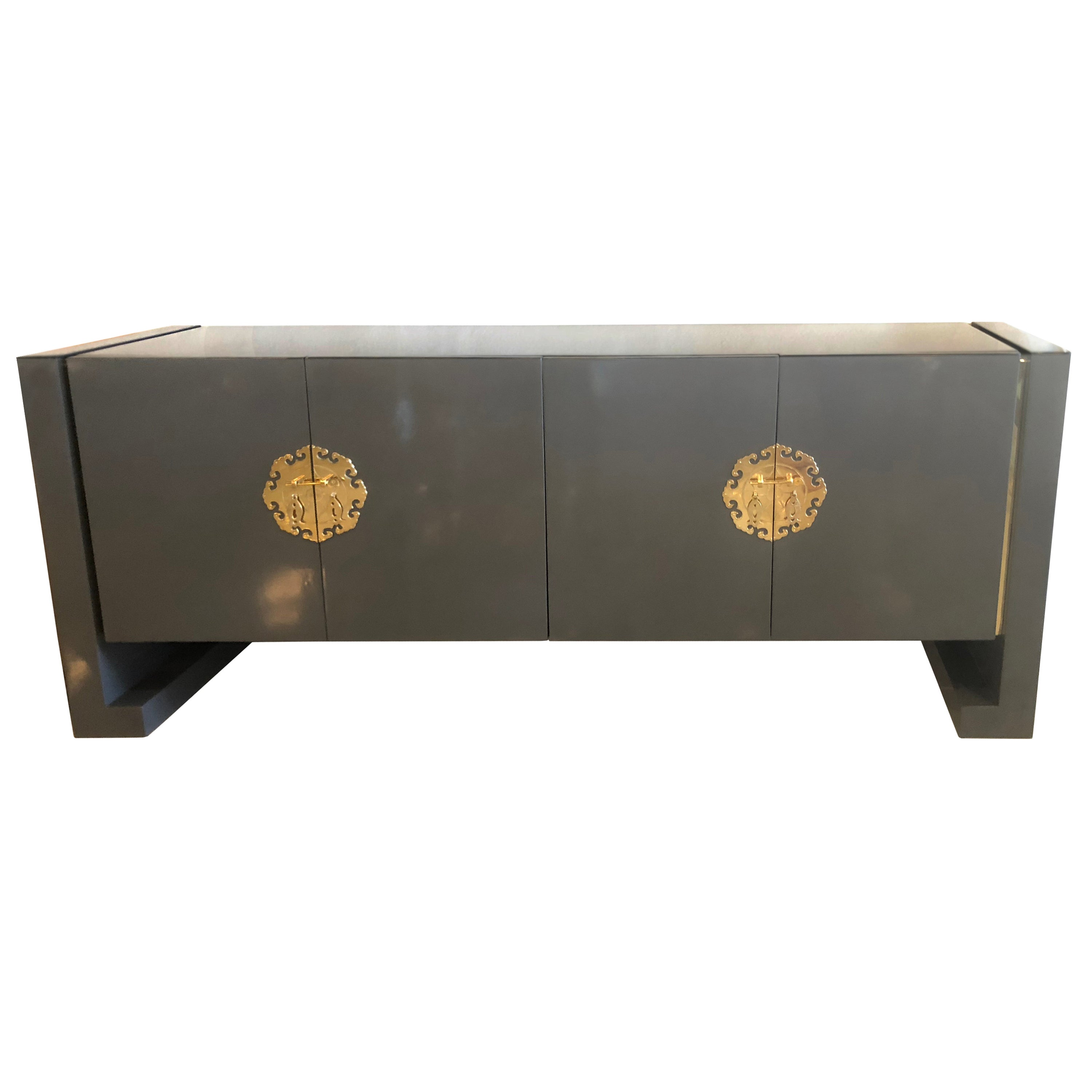 Vintage Grey Lacquered Brass Century Furniture Ming Credenza Buffet Sideboard