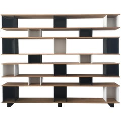 Black and White 'Horizontale' Oak Shelving Unit by Design Frères
