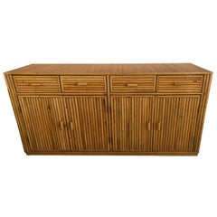 Vintage Bamboo Reed Woven Top Credenza Buffet Sideboard Cabinet
