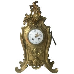 Antique French Louis XV Style Bronze Pendulum Mantel Clock with Flowery Decor