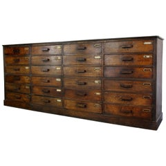 Bank of French Oak Museum Drawers, circa 1920s