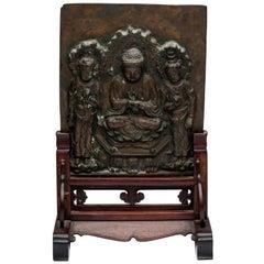 Asian Bronze Plaque of Buddha Shakyamuni with Attendant Bodhisattvas
