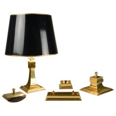 Art Deco Brass Table Lamp and Writing Set with Ink Well and Blotter Rocker