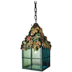 "Viennese ""Heurigen"" Lantern of Wrought Iron with Tinted Glass Wine Leaf Decor"