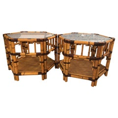 Vintage Pair of Burnt Bamboo Rattan End Side Tables Octagonal