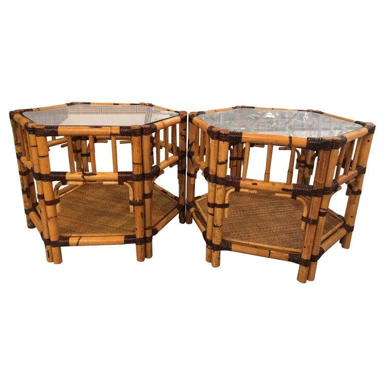 Vintage Pair Of Burnt Bamboo Rattan End Side Tables Octagonal For