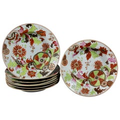 Set of Eight Chinese Export Tobacco Leaf Porcelain Soup Plates