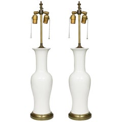 Pair of Lightly Textured Blanc de Chine Baluster Lamps