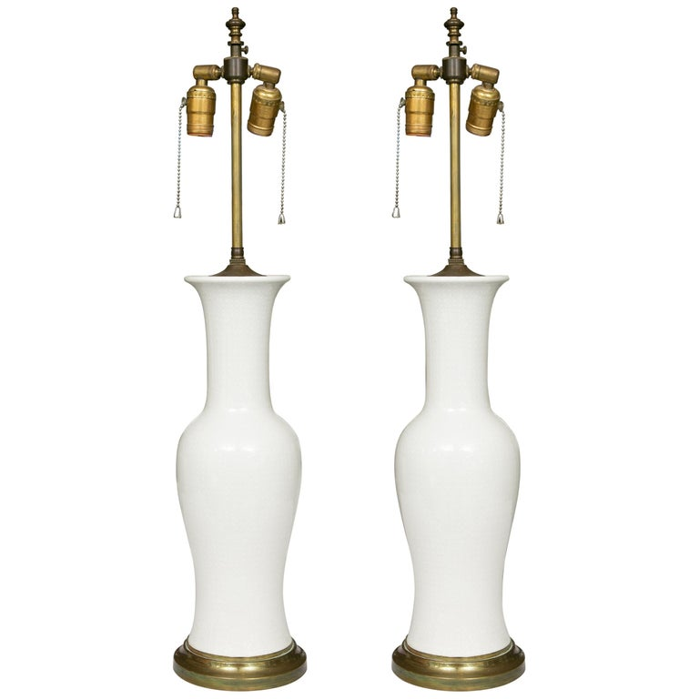 Pair of Lightly Textured Blanc de Chine Baluster Lamps For Sale