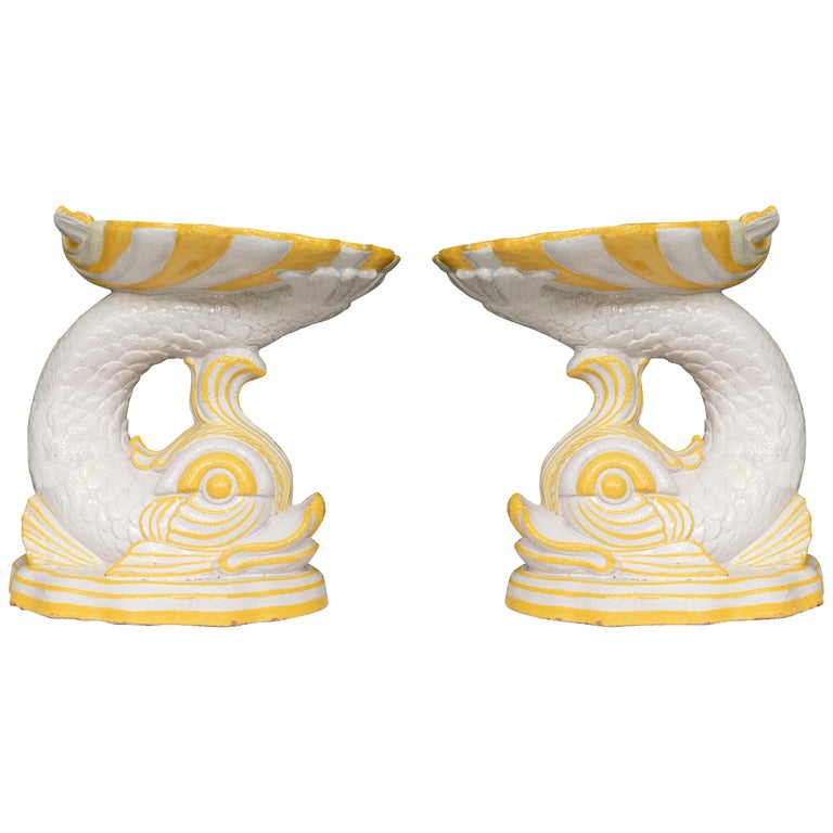 Pair of Midcentury Faience Glazed Dolphin Figures For Sale