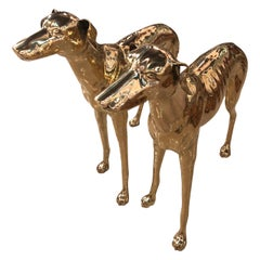 Vintage Pair of Polished Brass Life-Size Greyhound Dog Statues