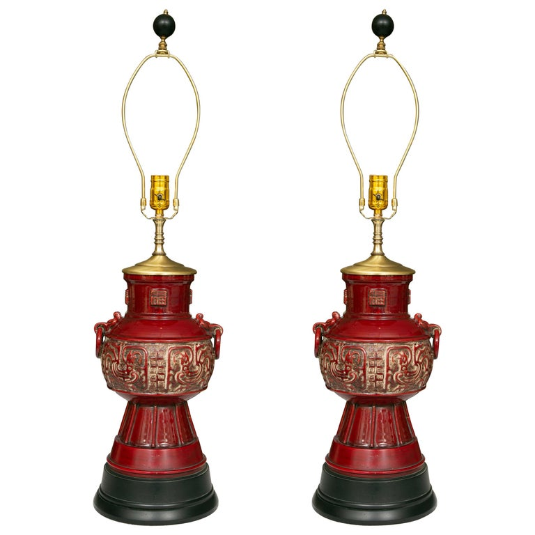 Blood Red Asian Inspired Vessels as Table Lamps For Sale
