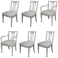 Set of Six Swedish Painted Dining Chairs