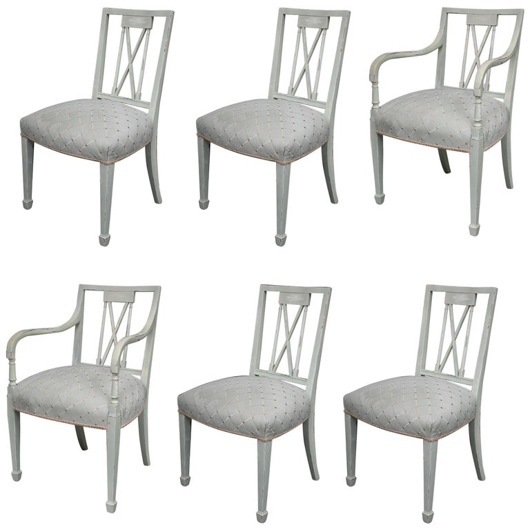 Set of Six Swedish Painted Dining Chairs For Sale