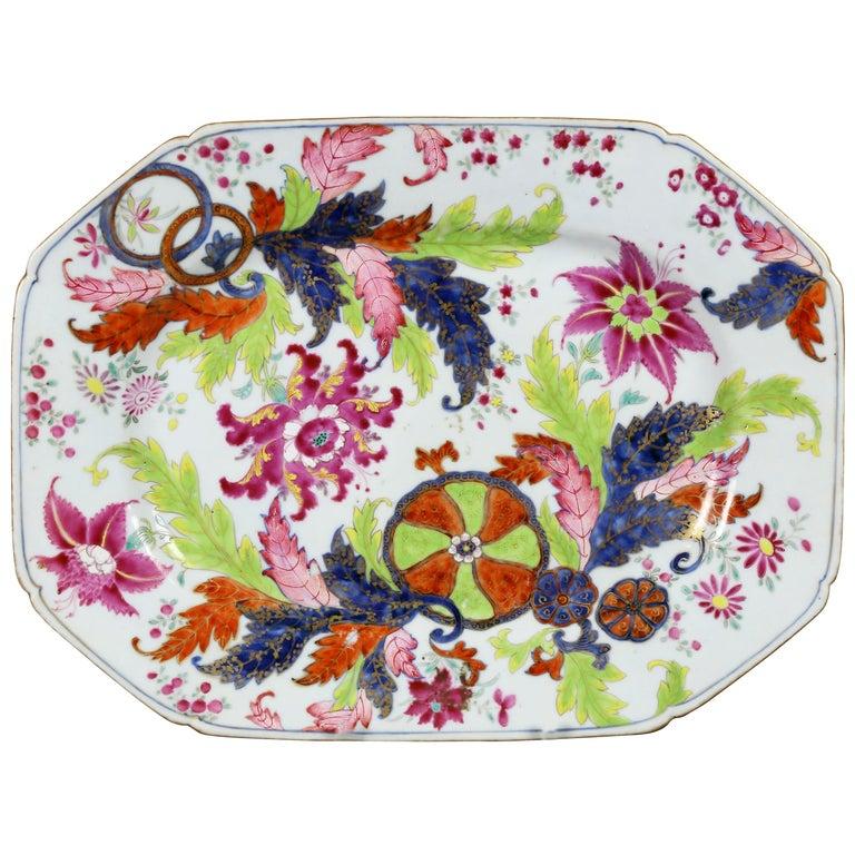 Chinese Export Tobacco Leaf Porcelain Platter