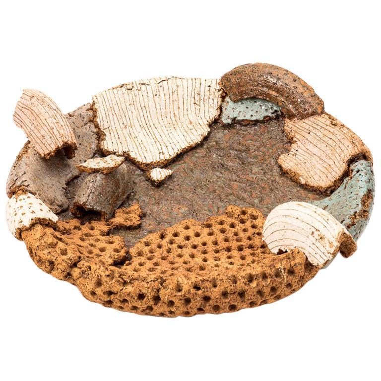 Japanese Contemporary Earthenware Sculptural Platter by Sato Ken
