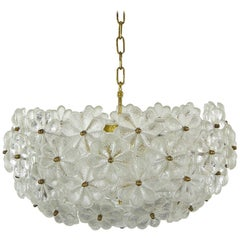 Ernst Palme Large Floral Glassflowers Chandelier