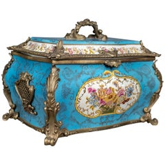 Large Decorative Porcelain Casket, Sevres Style Gilt Mounted Ceramic