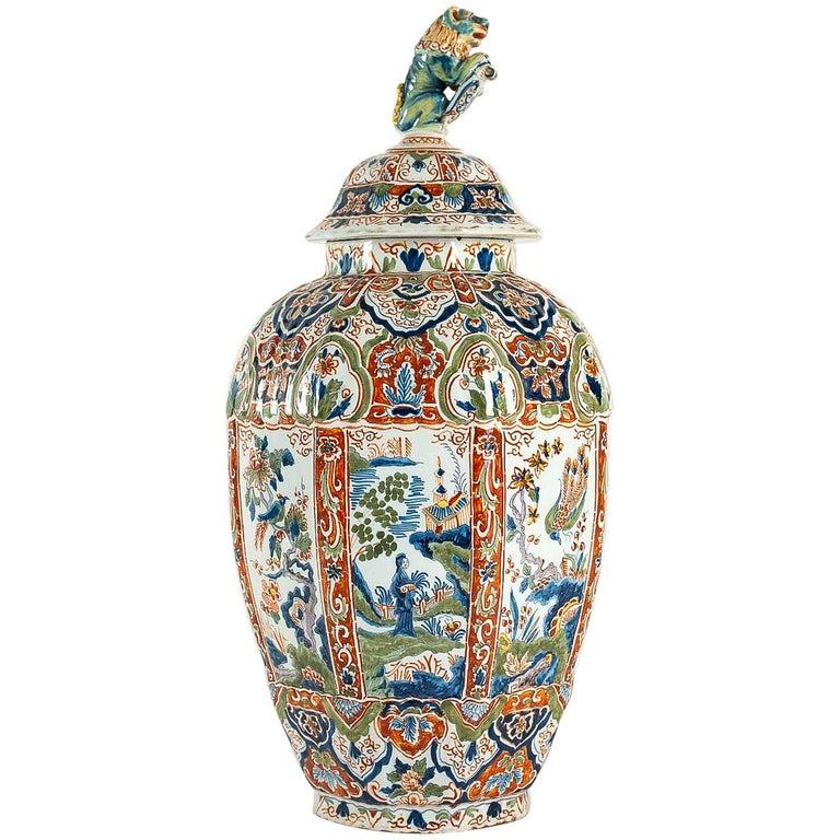Large Dutch 18th Century, Polychrome Delft Faience Vase