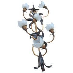 Vertical Big Sconce Modern Floreal Forged Metal Glass Hand Made in Italy Gold