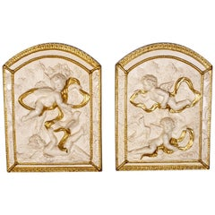 Pair of Decorative Panels, Plaster Reliefs, Putti, Cherubs, Plaques