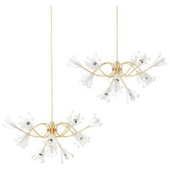 Two Identical Large Emil Stejnar Brass Crystals Chandeliers by Nikoll, 1950s