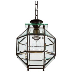 Italian Brass and Cut Glass Lantern or Pendant Lamp, 1950s