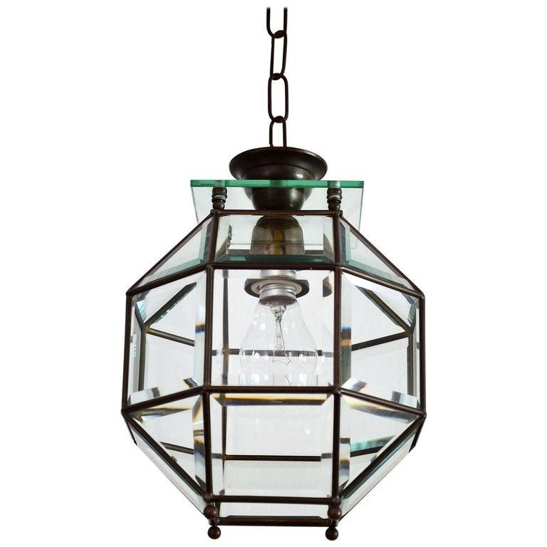 Italian Brass and Cut Glass Lantern or Pendant Lamp, 1950s