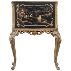 Cabinet Rococo Black and Gold Italian Mid-Century Modern Chinese Lacquer Scenes