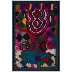 Moroccan Berber Tapestry Mixed Bright Colors Pink, Yellow Blue, Red, White