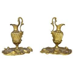 Pair of Small Ewers Decorative Gilt Bronze