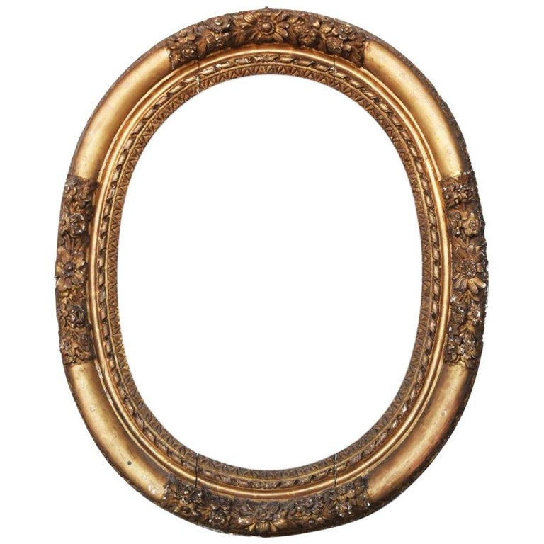 18th Century French Hand-Carved Giltwood Frame with Flowers